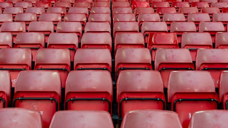 general view inside the empty stadium prior to the UEFA Champions League round of 16 second leg match between Liverpool FC and Atletico Madrid at Anfield on March 11, 2020 in Liverpool, United Kingdom.