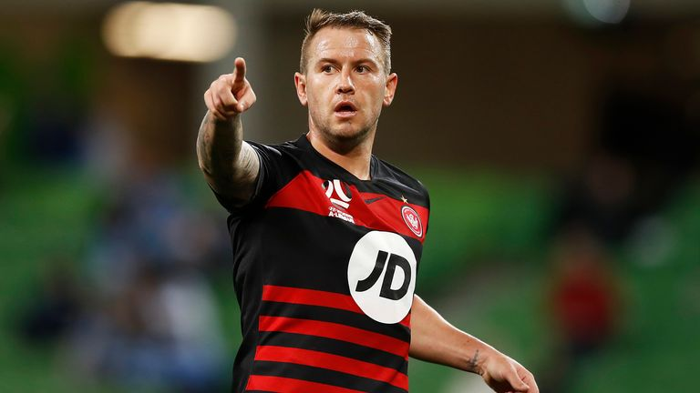 Simon Cox in action for new club Western Sydney Wanderers