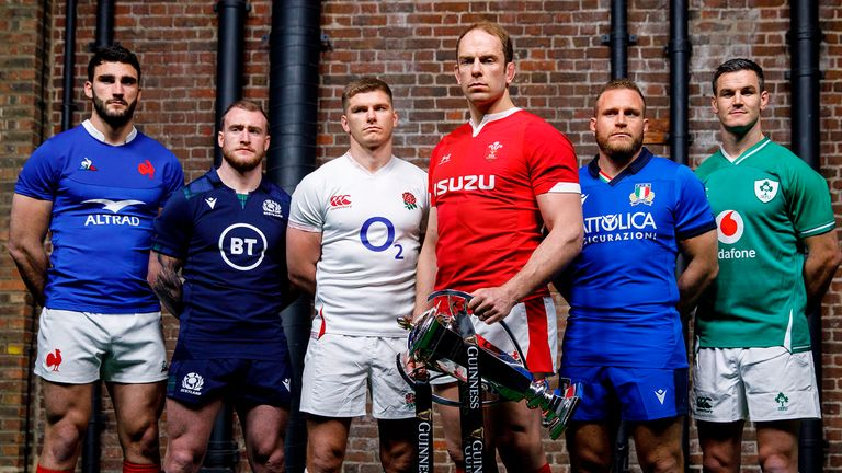 Six nations international rugby captains (L-R) France's captain Charles Ollivon, Scotland's captain Stuart Hogg, England's captain Owen Farrell, Wales' captain Alun Wyn Jones, Italy's captain Luca Bigi and Ireland's captain Jonathan Sexton pose with the trophy during the 6 Nations Rugby Union launch event in east London on January 22, 2020.