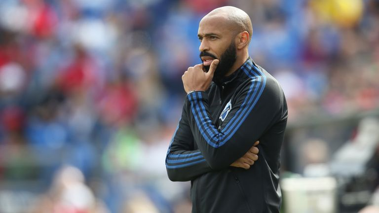 TEXAS CITY, TX - MARCH 07: Head Coach of Montral Impact, Thierry Henry looks on during an MLS match between FC Dallas and Montreal Impact at Toyota Stadium on March 7, 2020 in Texas City, Texas. (Photo by Omar Vega/Getty Images)