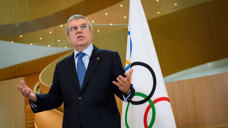 IOC President Thomas Bach says the time is not right for an immediate postponement of the Olympics