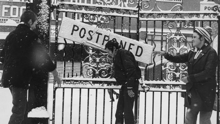 The gates of Tottenham Hotspur's White Hart Lane during the winter of 1963 when football ground to a halt