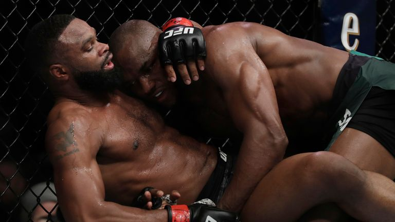 Tyron Woodley (L) lost his UFC welterweight title to Kamaro Usman (R)