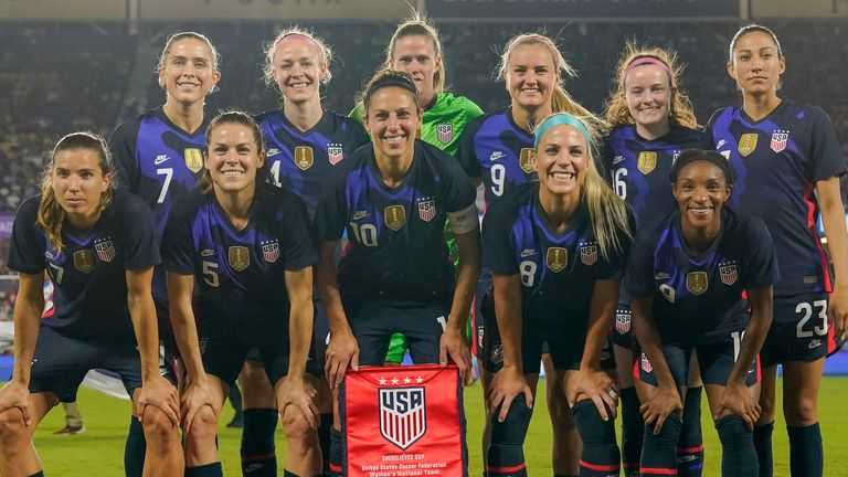 ORLANDO, FL - MARCH 05: USWNT starting eleven during a game between England and USWNT at Exploria Stadium on March 05, 2020 in Orlando, Florida. (Photo by Brad Smith/ISI Photos/Getty Images)