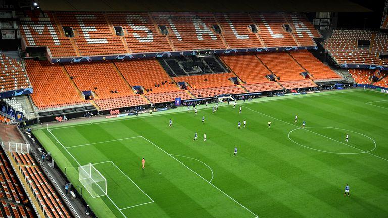 Valencia and Atalanta play inside an empty stadium due to the Coronavirus outbreak