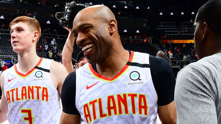 Vince Carter pictured after the Atlanta Hawks' overtime loss to the New York Knicks