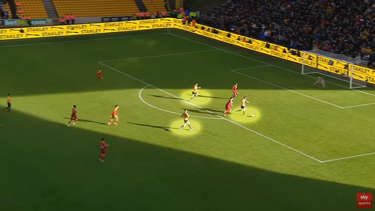 Wolves' goal on the counter-attack against Norwich in their 3-0 win at Molineux