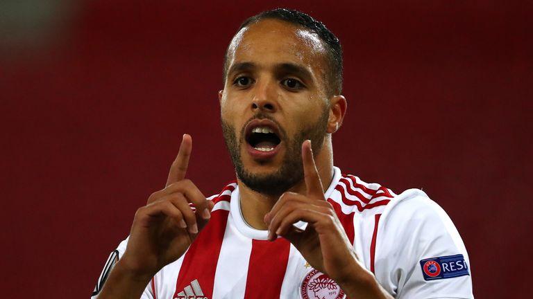 Youssef El Arabi celebrates scoring for Olympiakos against Wolves