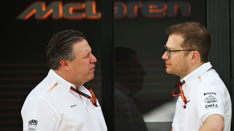 McLaren chiefs Zak Brown (L) and Andreas Seidl have commended the team for their calm handling of recent days
