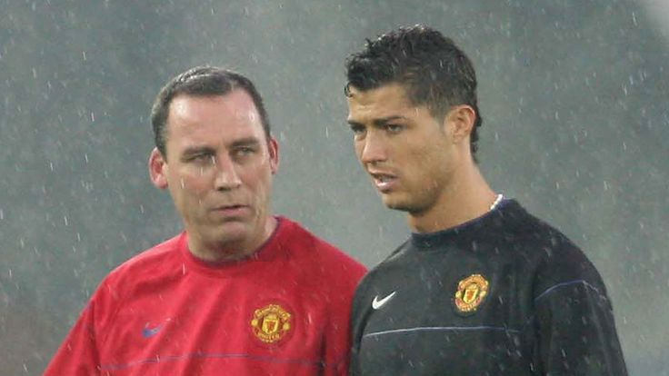 YOKOHAMA, JAPAN - DECEMBER 17:  Cristiano Ronaldo and Rene Meulensteen of Manchester United in action during a First Team Training Session ahead of the World Club Cup at Yokohama International Stadium on December 17 2008 in Yokohama, Japan. (Photo by John Peters/Manchester United via Getty Images)