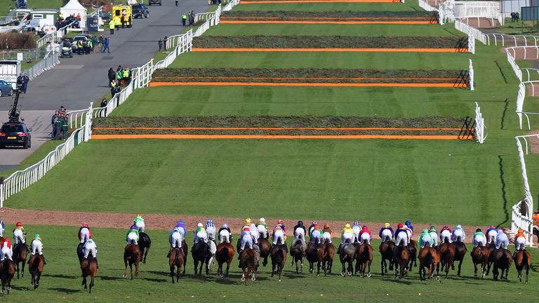 File photo dated 11-04-2015 of The start of the Grand National Day.