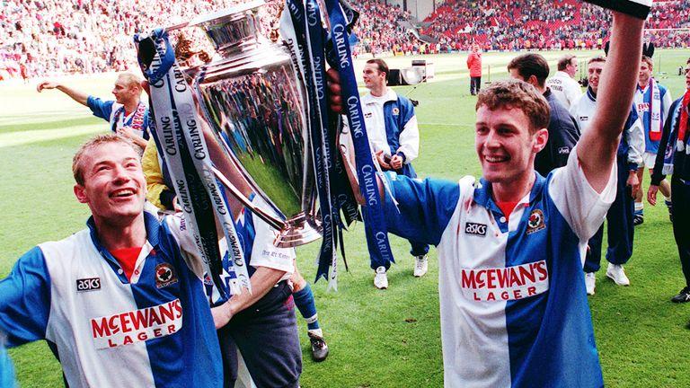 Blackburn strike force of Alan Shearer (and Chris Sutton hoist the Premier League trophy in 1995