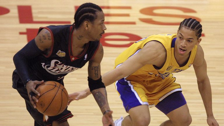 Allen Iverson attacks Tyronn Lue during the 2001 NBA Finals