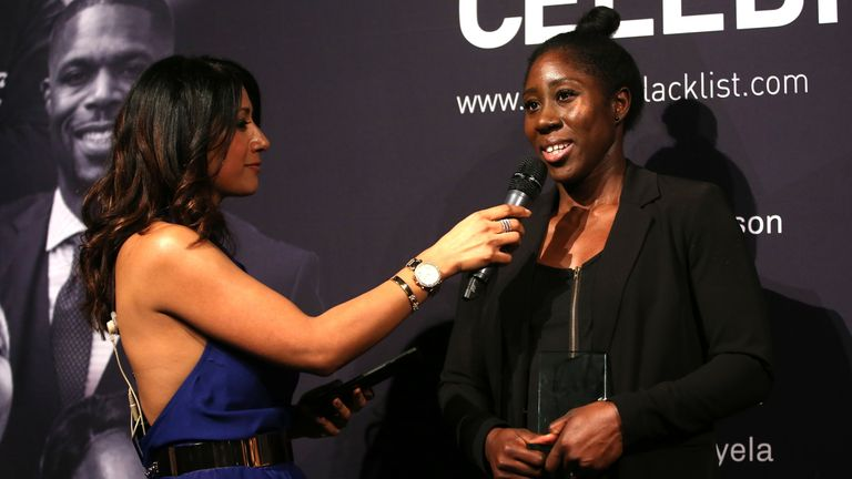 LONDON, ENGLAND - NOVEMBER 21: Anita Asante of Chelsea on stage during the Football Black List awards evening at Village Underground on November 21, 2019 in London, England. (Photo by Alex Morton/Getty Images for Premier League)
