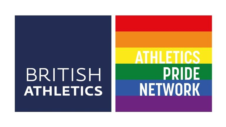 Athletics Pride Network logo, UK Athletics, British Athletics
