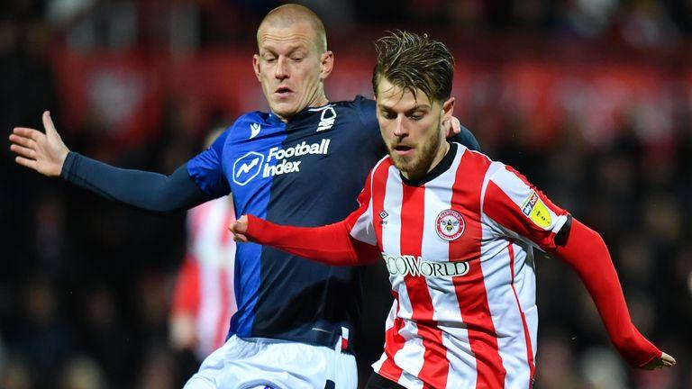 Brentford's Mathias Jensen in action against Nottingham Forest