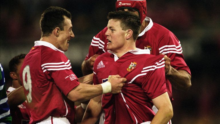 Try-scorer Brian O''Driscoll of British Lions is congratulated by team mate Rob Howley (left) during the Australia v British Lions match as part of the Lions Tour to Australia, played at the Gabba Stadium in Brisbane, Australia. Lions beatAustralia 29 - 13. \ M