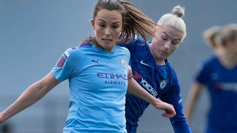 MANCHESTER, ENGLAND - FEBRUARY 23: Bethany England of Chelsea in action during the Barclays FA Women's Super League match between Manchester City and Chelsea at The Academy Stadium on February 23, 2020 in Manchester, United Kingdom. (Photo by Visionhaus) *** Local Caption *** Bethany England