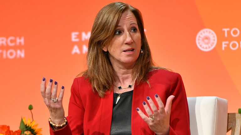 WNBA commissioner Cathy Engelbert in conversation during a 2020 media event