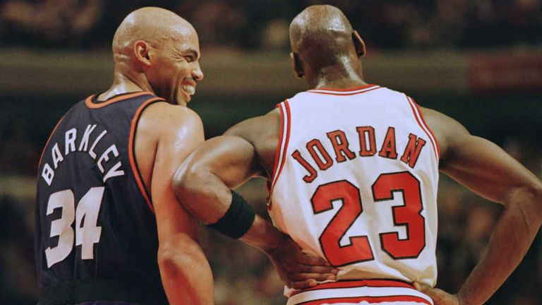 Charles Barkley shares a joke with Michael Jordan during the 1993 NBA Finals