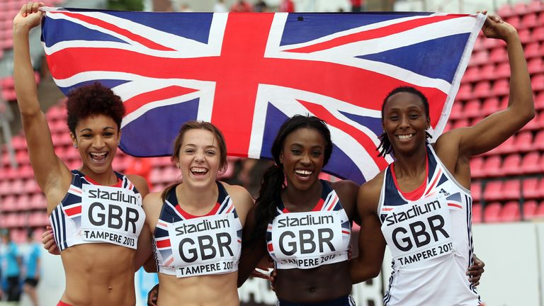 Humphreys (r) celebrates European U23 Championships silver-medal success with Great Britain 4x100m relay team-mates Jodie Williams, Rachel Johncock and Annie Tagoe in Finland in 2013