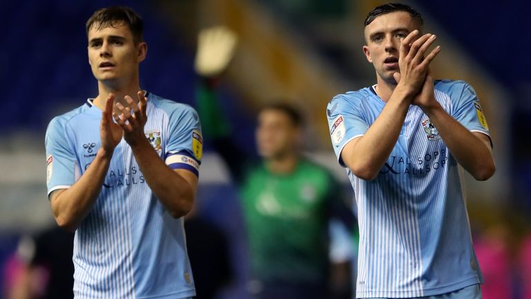 Coventry City's Jordan Shipley (right) and Coventry City Captain Michael Rose celebrates at end after 2-1 win over Rochdale during the Sky Bet League One match at St Andrews Trillion Trophy Stadium, Birmingham. 16 November 2019