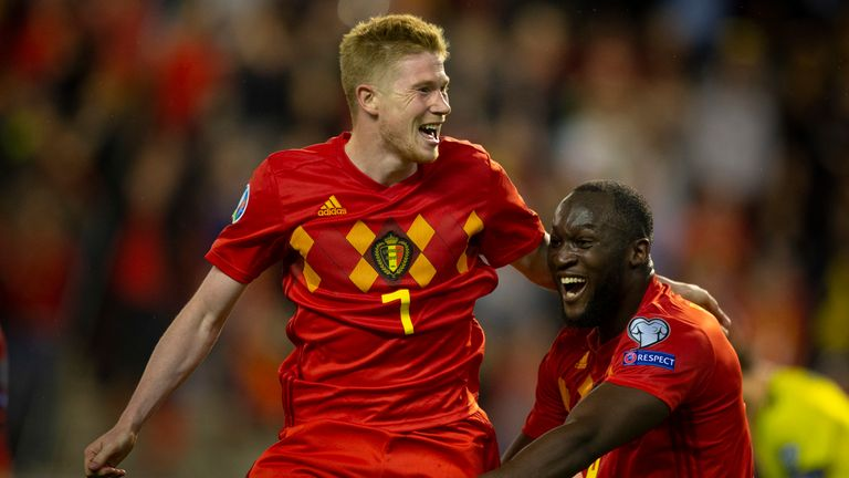 BRUSSELS, BELGIUM - JUNE 11: Kevin De Bruyne of Belgium celebrates after scoring a goal with Romelu Lukaku of Belgium during the 2020 UEFA European Championships group I qualifying match between Belgium and Scotland at King Baudouin Stadium on June 11, 2019 in Brussels, Belgium. (Photo by Frank Abbeloos/Isosport/MB Media/Getty Images)