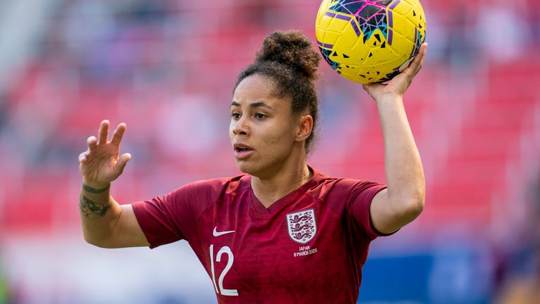 Demi Stokes in action for England