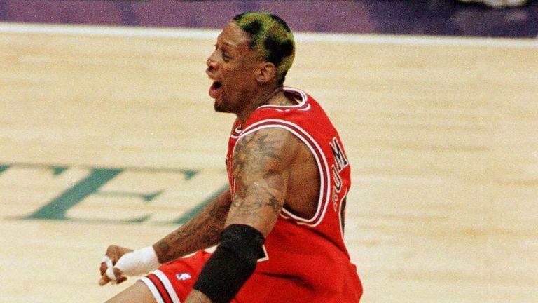 Dennis Rodman celebrates a play during the 1997 NBA Finals