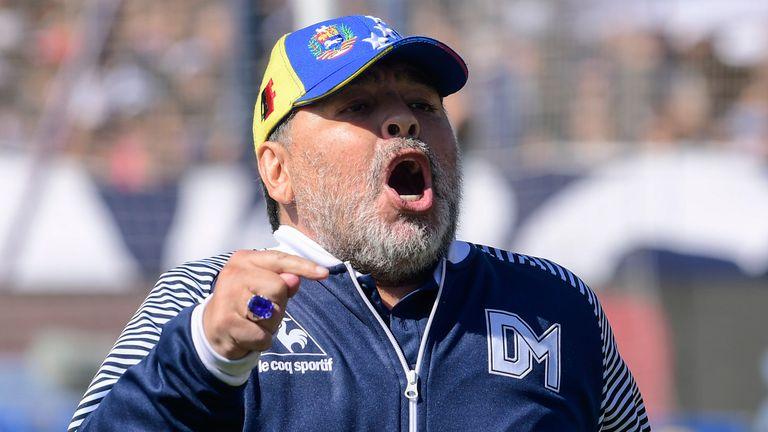 Diego Armando Maradona coach of Gimnasia y Esgrima greets the fans prior a match between Gimnasia y Esgrima La Plata and Estudiantes as part of Superliga Argentina 2019/20 at Juan Carmelo Zerillo on November 2, 2019 in La Plata , Argentina.