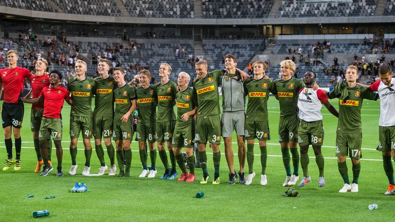 FC Nordsjaelland thank their away visiting supporters after a UEFA Europa League second qualifying round match against AIK in August 2018