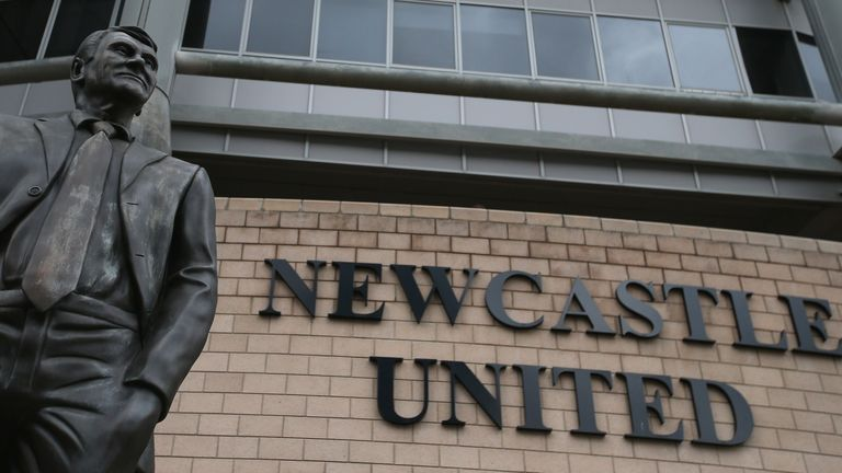 The statue of Bobby Robson is seen outside St James' Park