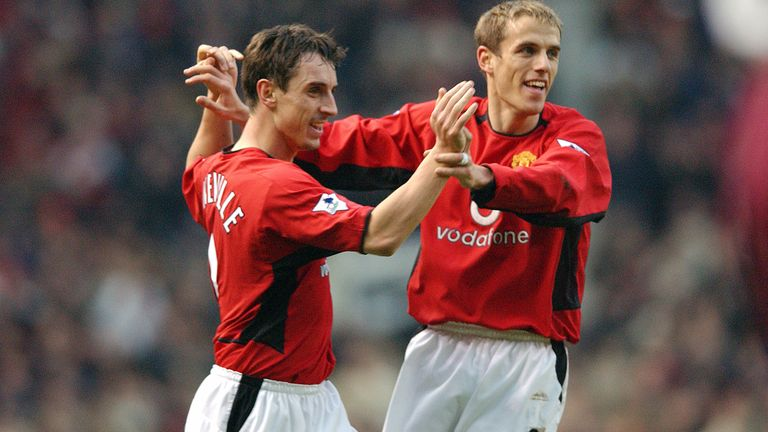 Brothers Gary and Phil Neville celebrate Man Utd's first goal of the match..Manchester United v West Ham United, Old Trafford, Manchester, 14/12/2002, Barclaycard Premiership