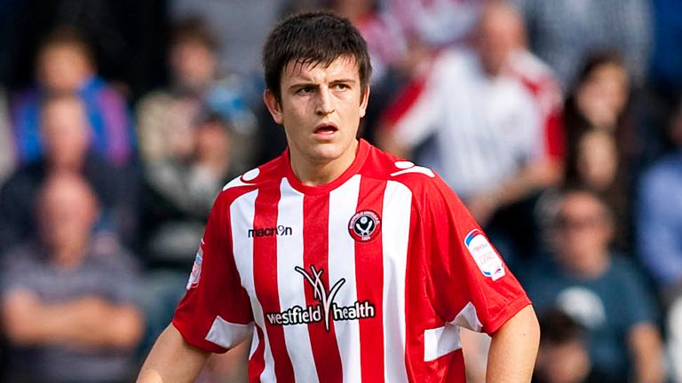 Harry Maguire in action for Sheffield United