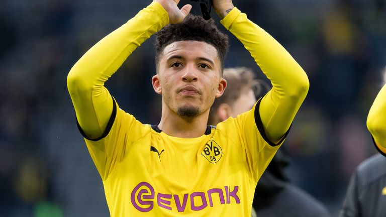 Jadon Sancho gestures during Borussia Dortmund's Bundesliga match against Sport-Club Freiburg