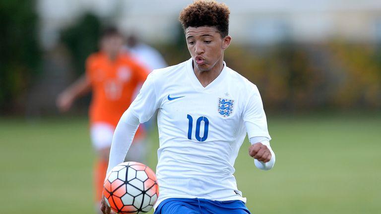 Jadon Sancho in England U16 action on October 29, 2015 in Boissy-Saint-Leger, France.