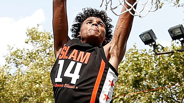 Jalen Green rises to dunk during the 2019 Slam Summer Classic