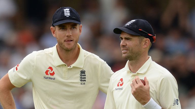 NOTTINGHAM, ENGLAND - AUGUST 20 : Stuart Broad and James Anderson of England talk during the third day of the 3rd Specsavers Test Match between England and India at Trent Bridge on August 20, 2018 in Nottingham England. (Photo by Philip Brown/Getty Images) *** Local Caption *** James Anderson; Stuart Broad