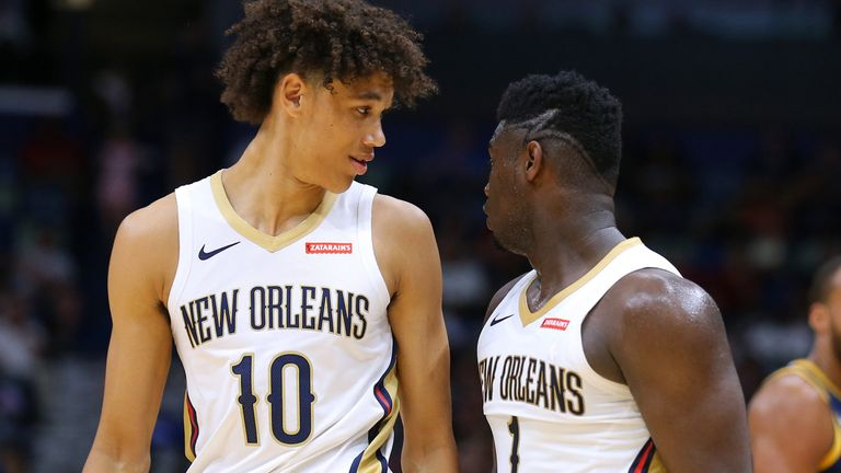 Jaxson Hayes and Zion Williamson in action for the New Orleans Pelicans in a preseason clash with the Utah Jazz
