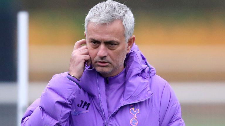 Jose Mourinho in Tottenham training