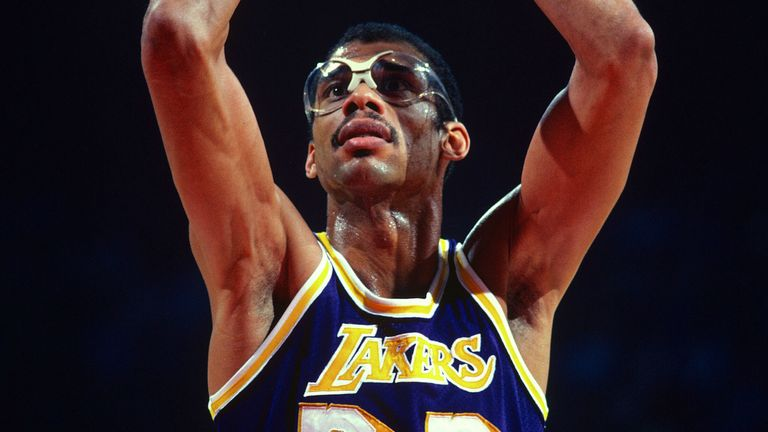 Kareem Abdul-Jabbar shoots a free throw for the Lakers