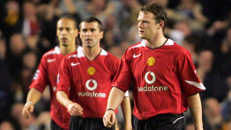 LIVERPOOL, ENGLAND - APRIL 20:  Rio Ferdinand, Roy Keane and Wayne Rooney of Manchester United look disappointed at final whistle of the Barclays Premiership match between Everton and Manchester United at Goodison Park on April 20 2005 in Liverpool, England. (Photo by Matthew Peters/Manchester United via Getty Images) *** Local Caption *** Rio Ferdinand;Roy Keane;Wayne Rooney