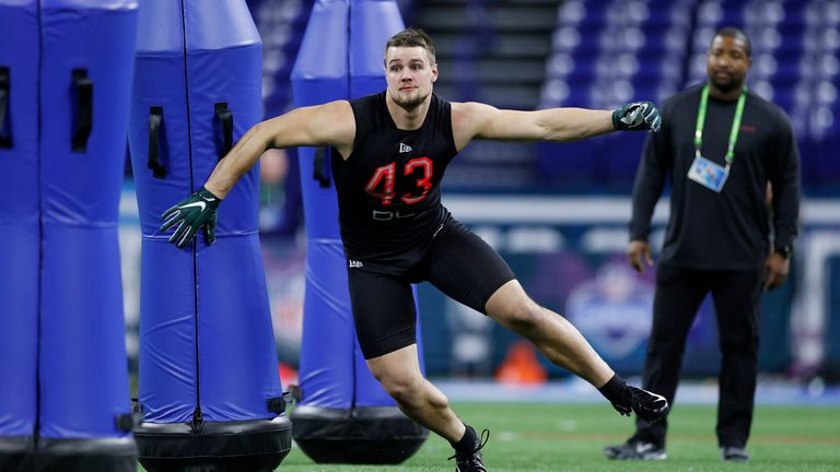 Willekes in action at the NFL Scouting Combine in Indianapolis
