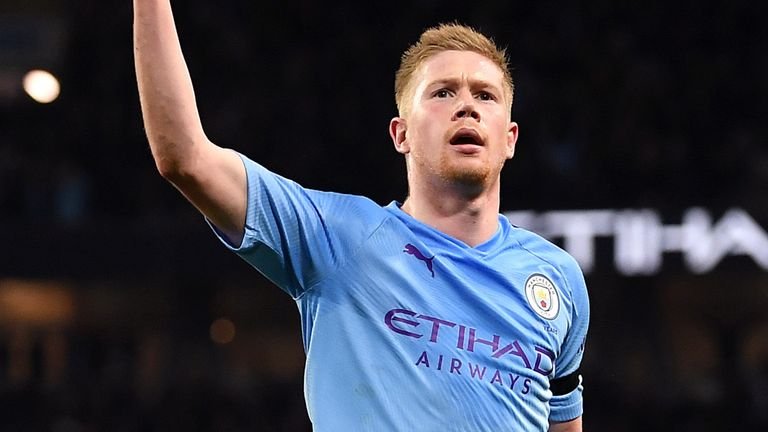 De Bruyne scored 13 goals and assisted 20 in the 2019/20 campaign