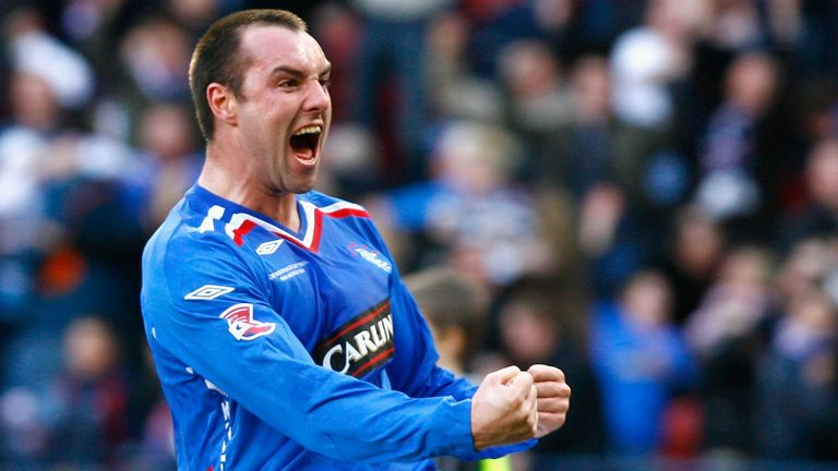 Boyd celebrates scoring for Rangers in the Scottish League Cup final in 2008