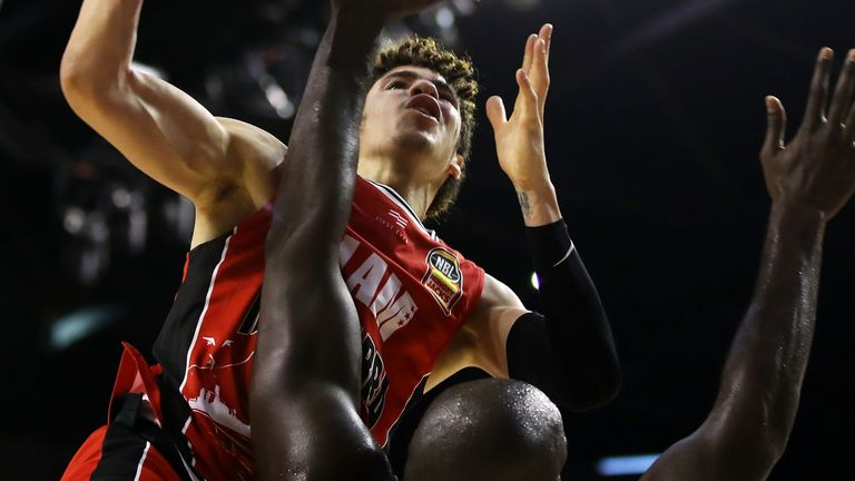 LaMelo Ball attacks the basket for the Illawarra Hawks