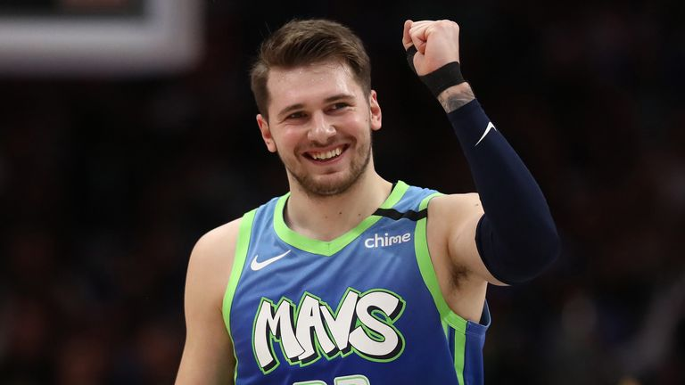 Luka Doncic celebrates a play during a Dallas Mavericks win