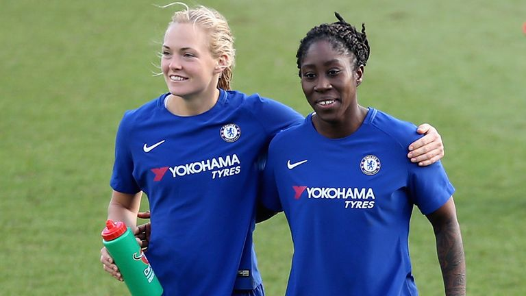 KINGSTON UPON THAMES, ENGLAND - JANUARY 28: Magdalena Eriksson and Anita Asante of Chelsea celebrate victory during the WSL match between Chelsea Ladies and Everton Ladies at The Cherry Red Records Stadium on January 28, 2018 in Kingston upon Thames, England. (Photo by Alex Pantling/Getty Images)