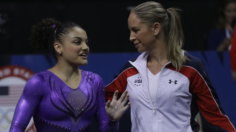 2016 Rio Olympic gold medallist Laurie Hernandez (L) was also coached by Haney