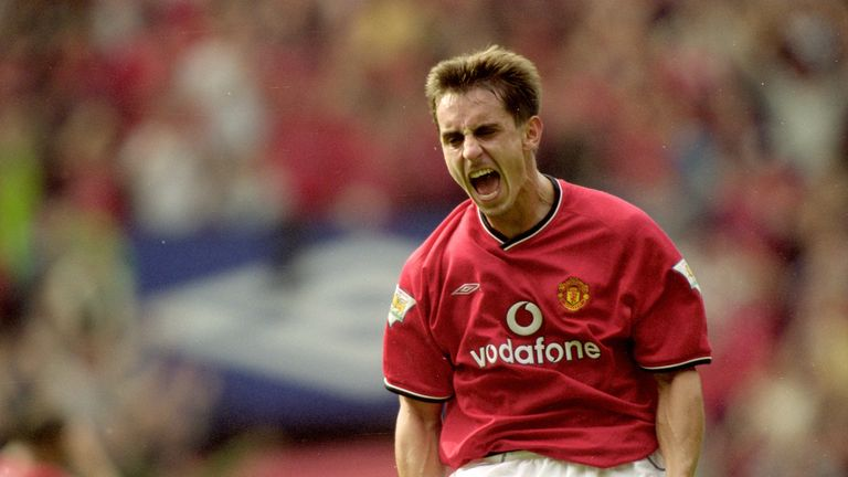 Gary Neville of Manchester United celebrates during the FA Carling Premiership match against Chelsea at Old Trafford, in Manchester, England. The match ended in a 3-3 draw.